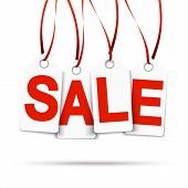 Four White Hangtags With Sale