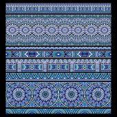 ethnic seamless stripes background set