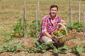 picture of farmer  - Organic farmer with fresh fruit and vegetables in garden - JPG
