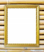 Golden Frame On Bamboo Wall Background
