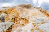 The rock with falls in Yellowstone, Mammoth Hot Springs.