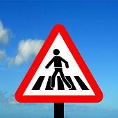 Warning triangle pedestrian crossing
