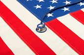 Stethoscope Over Us Flag