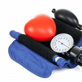 Blood Pressure Measuring Tools With Red Toy Heart - Studio Shoot On White