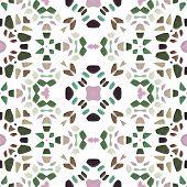 Kaleidoscope figure of greenish, pink, brown, turquoise and black stones