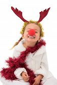 Cute little girl wearing red nose and tinsel on white background