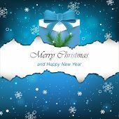 Christmas background with gift, snowflakes and pine needles