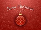 Merry Christmas. Christmas card. Christmas bauble on red background with snowflakes
