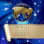 Simple monthly page of 2015 Calendar with gold zodiacal sign against the blue star space background. Design of April month page with Aries figure. Vector illustration