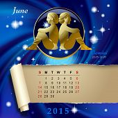 Simple monthly page of 2015 Calendar with gold zodiacal sign against the blue star space background. Design of June month page with Gemini figure. Vector illustration