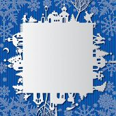 Christmas and New Year's paper frame with silhouette of town and people on blue background. Vector greetings card