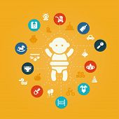 Illustration of concept flat design cute baby composition with i