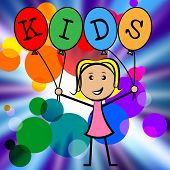 Kids Balloons Shows Youths Female And Youngster
