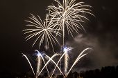 image of pendulum  - The explosion of beautifully white fireworks with Prague Pendulum - JPG