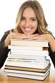 School Girl Lean On Books Smile