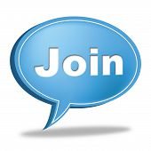 Join Speech Bubble Means Sign Up And Membership