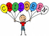 Children Balloons Indicates Toddlers Kids And Youngsters