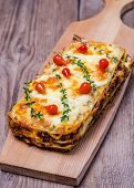 Lasagna On The Wooden Table