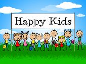 Happy Kids Banner Represents Jubilant Happiness And Child