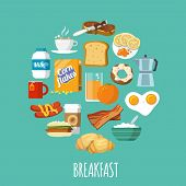 stock photo of flat-bread  - Breakfast concept with fresh food and drinks flat icons set vector illustration - JPG