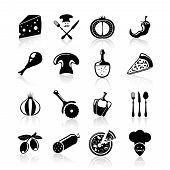 Pizzeria icons set black