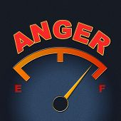 stock photo of outrageous  - Anger Gauge Representing Dial Outraged And Scale - JPG