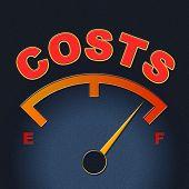 Costs Gauge Means Display Bills And Finances