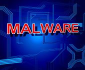 Malware Sign Represents Processor Keyboard And Malicious