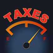 Taxes Gauge Represents Irs Duties And Taxation