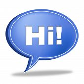 Hi Speech Bubble Represents How Are You And Chat
