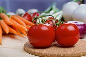 stock photo of scallion  - Tomatos with baby carrots - JPG