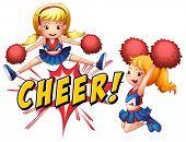 Girls jumping with cheer icon