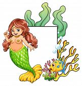 A plump mermaid with blank sign