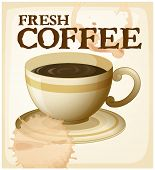 Fresh brewed coffee poster with text