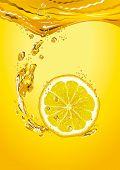 Lemon slice with bubbles. Vector