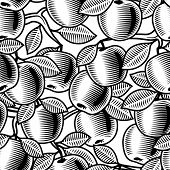 Seamless apple background black and white. Vector