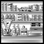 Retro store black and white