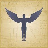 Winged man. Vector