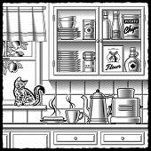 Retro kitchen black and white. Vector