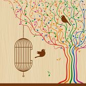 Birdcage On The Musical Tree. Vector
