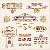 Vintage Christmas Labels. Vector