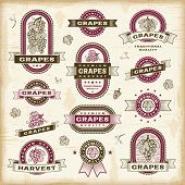 Vintage grapes labels set. Fully editable EPS10 vector.