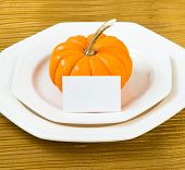 Autumn Thanksgiving Dinner Table Setting With Pumpkin