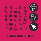 communication, connection, link, network black isolated icons, signs, symbols, illustrations set, vector