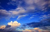 stock photo of rainy season  - beautiful sky scape of clouds in rainy season with morning light use as natural background backdrop - JPG