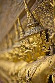 stock photo of garuda  - Garudas in the bot of the Wat Phra Kaew thailand  - JPG