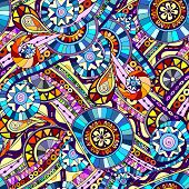 Original mosaic drawing tribal doddle ethnic pattern. Seamless background with geometric elements.