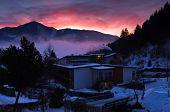 Winter dawn at Zell am See village, Austrian Alps