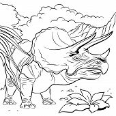Triceratops dinosaur for coloring book
