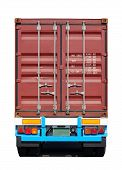 Cargo container on cargo container  truck on white background